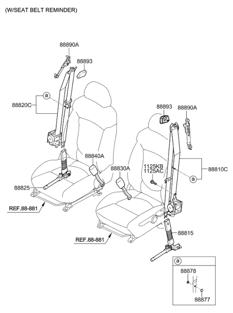 2010 Kia Forte BUCKLE ASSEMBLY-FRONT SEAT Diagram