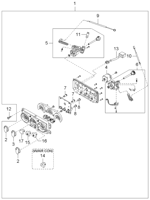 2002 Kia Rio CONTROL ASSEMBLY-HEATER Diagram