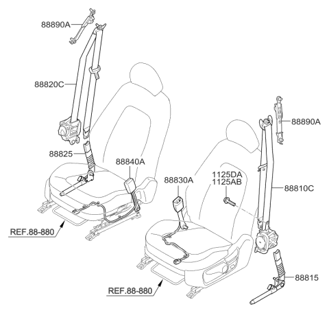 2014 Kia Optima BUCKLE ASSEMBLY-FRONT SEAT Diagram