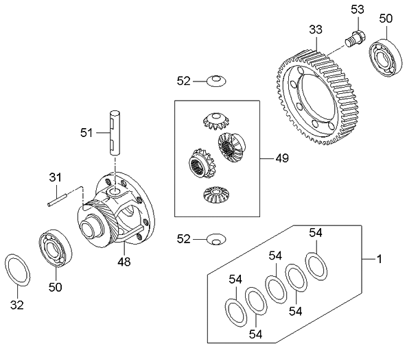 gear train diagram gear set diagram 4583728510 - genuine kia gear set-differential