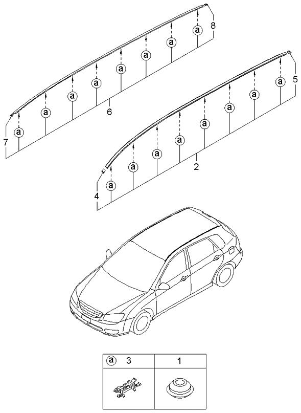 2005 Kia Spectra Hatchback Rear Spoiler & Roof Garnish