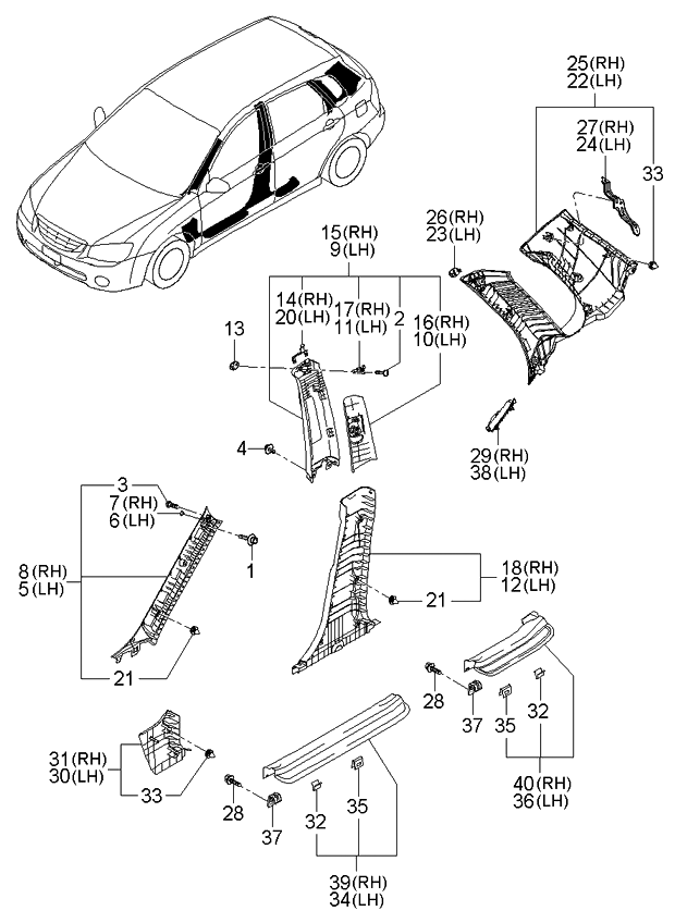 2006 Kia Spectra Hatchback Interior Side Trim