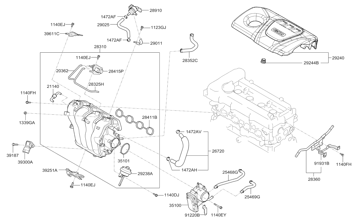 292402b900 genuine kia cover assembly engine rh kiapartsnow com