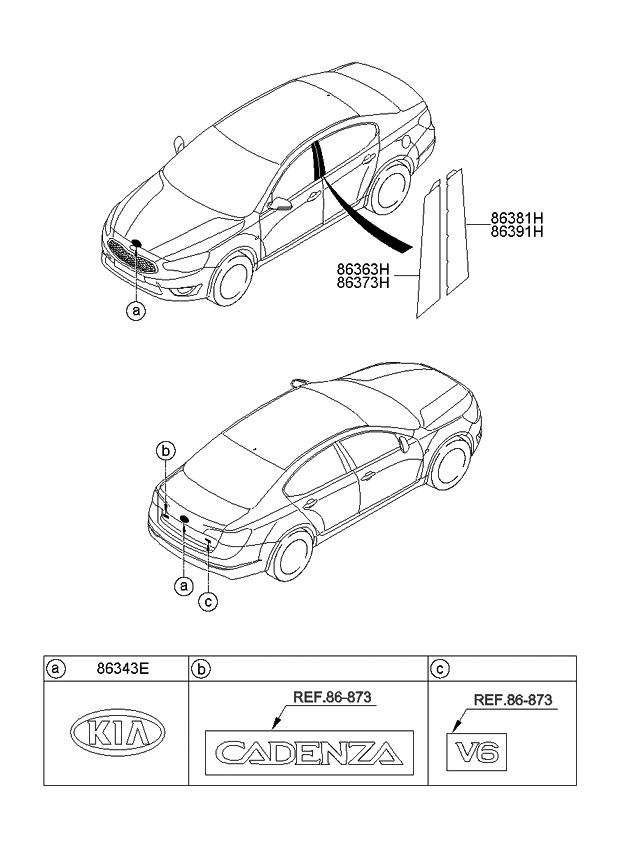 2014 Kia Cadenza Emblem - Kia Parts Now