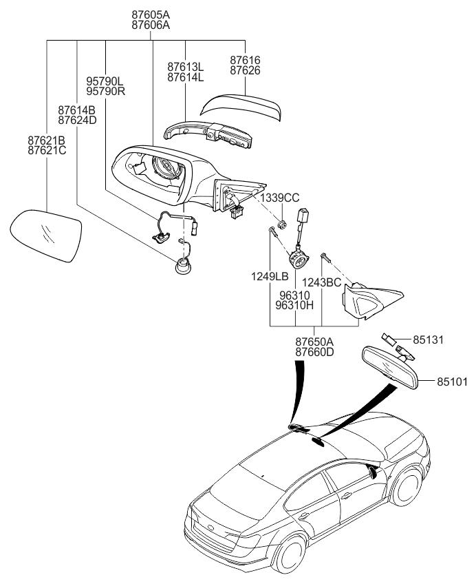 2014 Kia Cadenza Rear View Mirror - Kia Parts Now