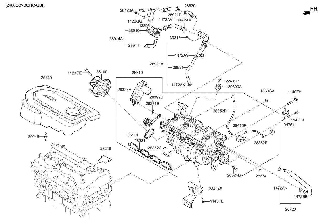 kia 283232gga1 2004 Kia Sorento Cooling System Diagram
