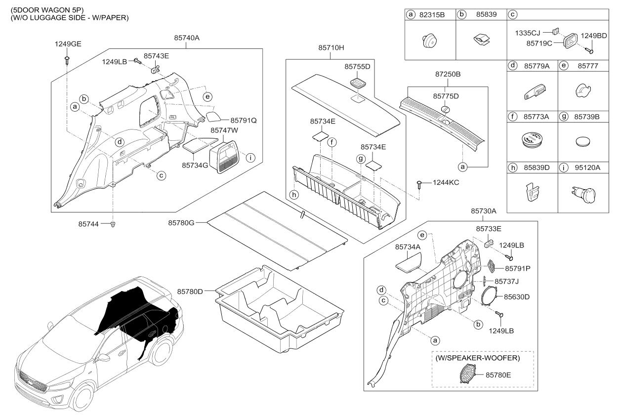 2017 Kia Sorento Luggage Compartment Parts Now Diagram Thumbnail 1