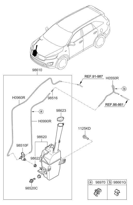 98510A9000 - Genuine Kia MOTOR & PUMP-WINDSHIELD