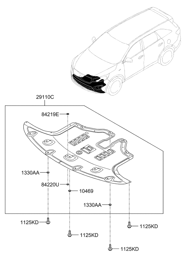 Engine Splash Shield Compatible With 2016-2019 Kia Sorento Engine under cover; Vacuum Form; With Aluminum Pad