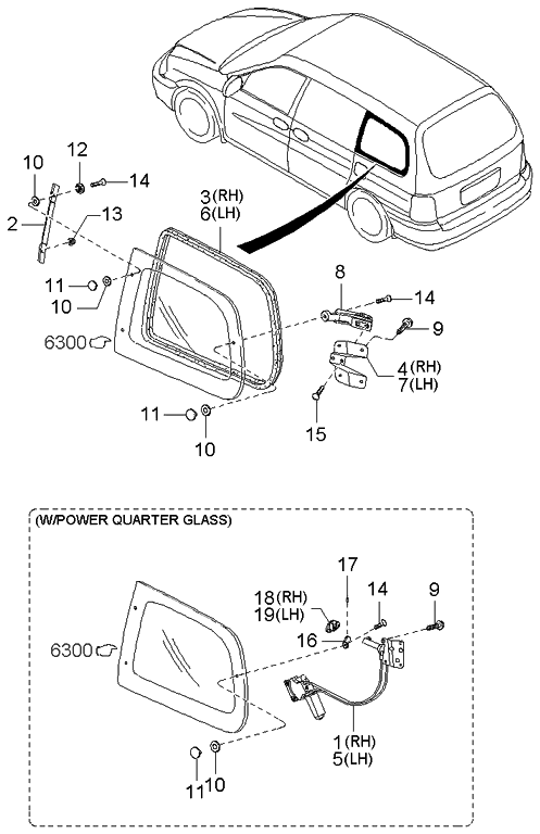 2003 Kia Sedona Quarter Glass Mechanisms