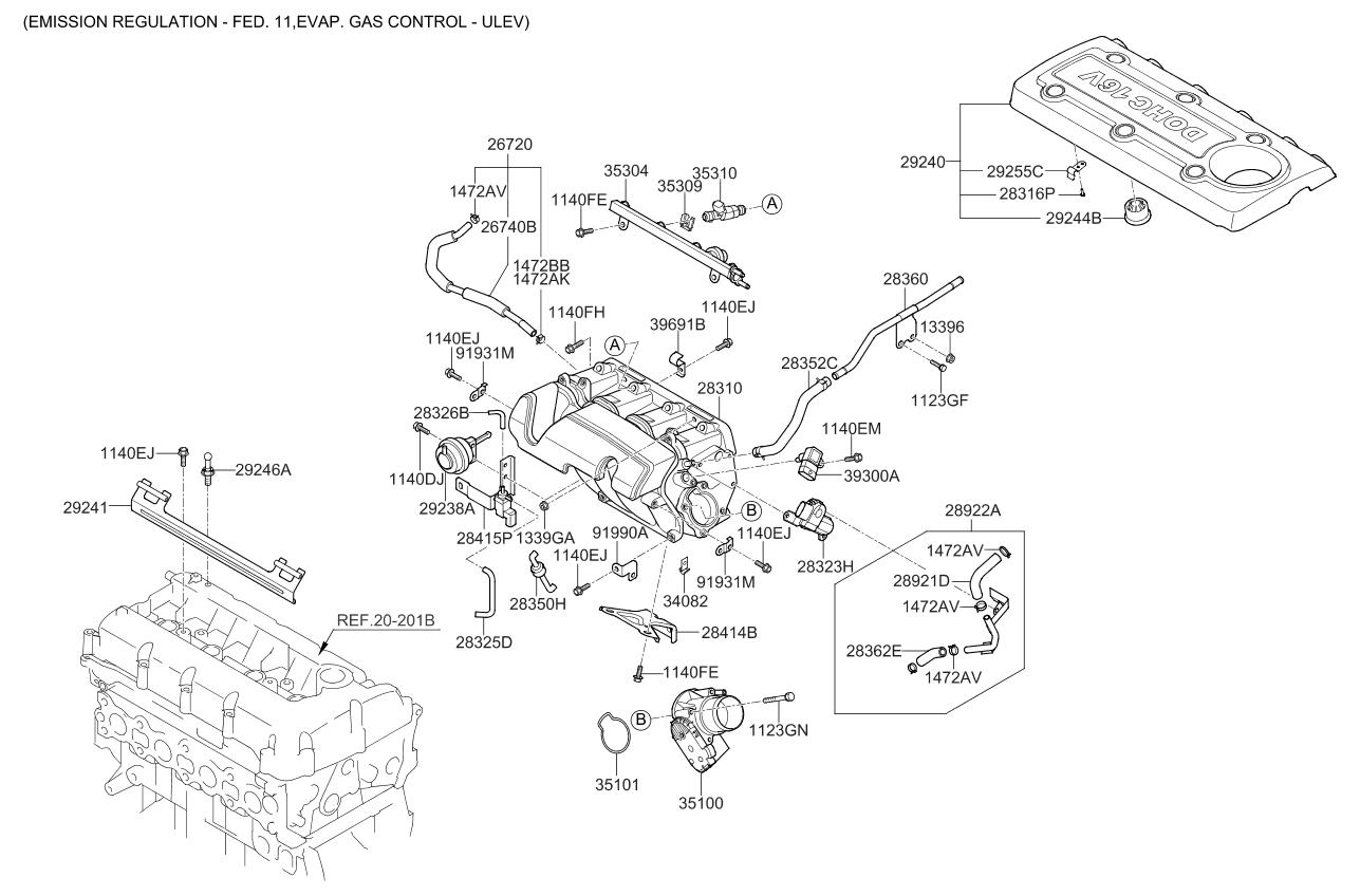 283232g400 - genuine kia motor assembly