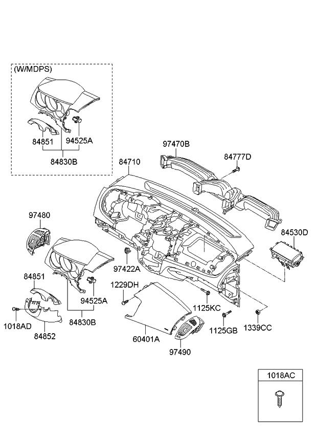 2010 Kia Forte Koup Crash Pad Upper