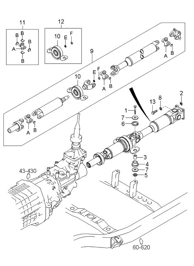 491003e450 genuine kia propeller shaft assembly rh kiapartsnow com Propeller Shaft Diagram Case Magnum propeller shaft line diagram