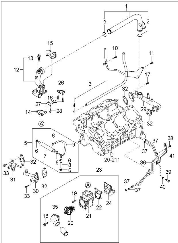 2005 kia sorento coolant hose pipe kia parts now rh kiapartsnow com 2014 Kia Sorento Parts Diagram 2005 Kia Sorento Belt Replacement