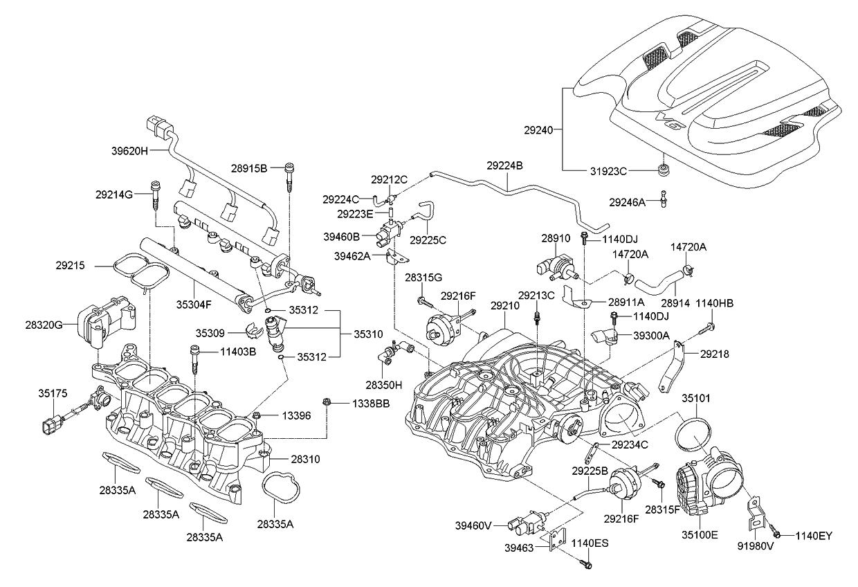 283203c000 genuine kia motor module vcm 2008 Mitsubishi Lancer Engine Diagram 2011 kia sorento intake manifold