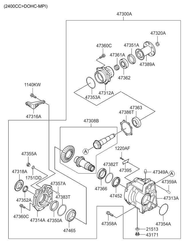 Kia 47363-3B200 Transfer Case Drive Gear Bearing