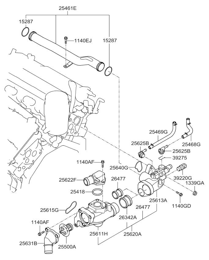 2011 kia sorento coolant pipe \u0026 hose kia parts now 2008 Mitsubishi Lancer Engine Diagram 2011 kia sorento coolant pipe \u0026 hose thumbnail 1