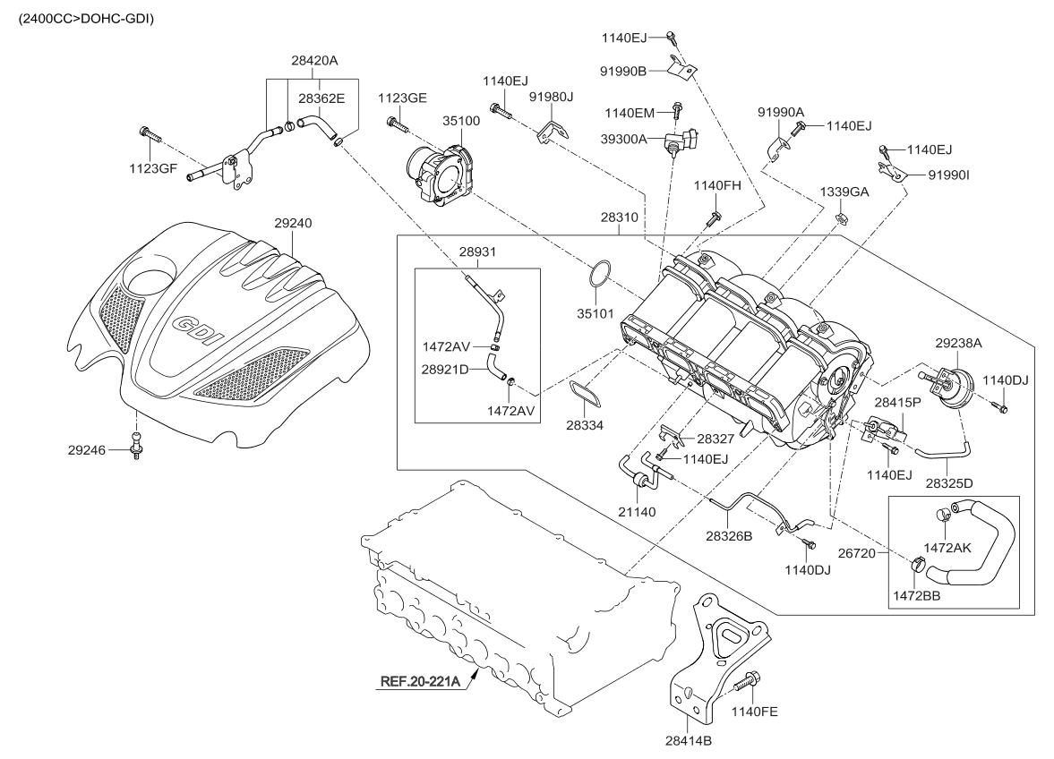 2011 kia sorento intake manifold kia parts now rh kiapartsnow com 2005 Kia Sorento Belt Diagram Kia Sorento Motor Diagram