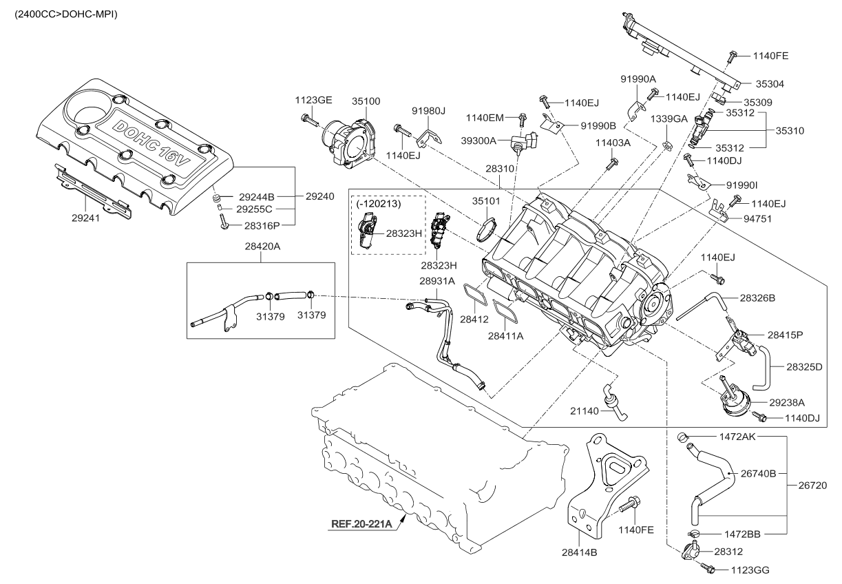 hyundai engine diagram intake area