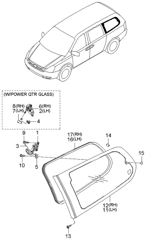 878204d130 genuine kia glass assembly quarter window r. Black Bedroom Furniture Sets. Home Design Ideas
