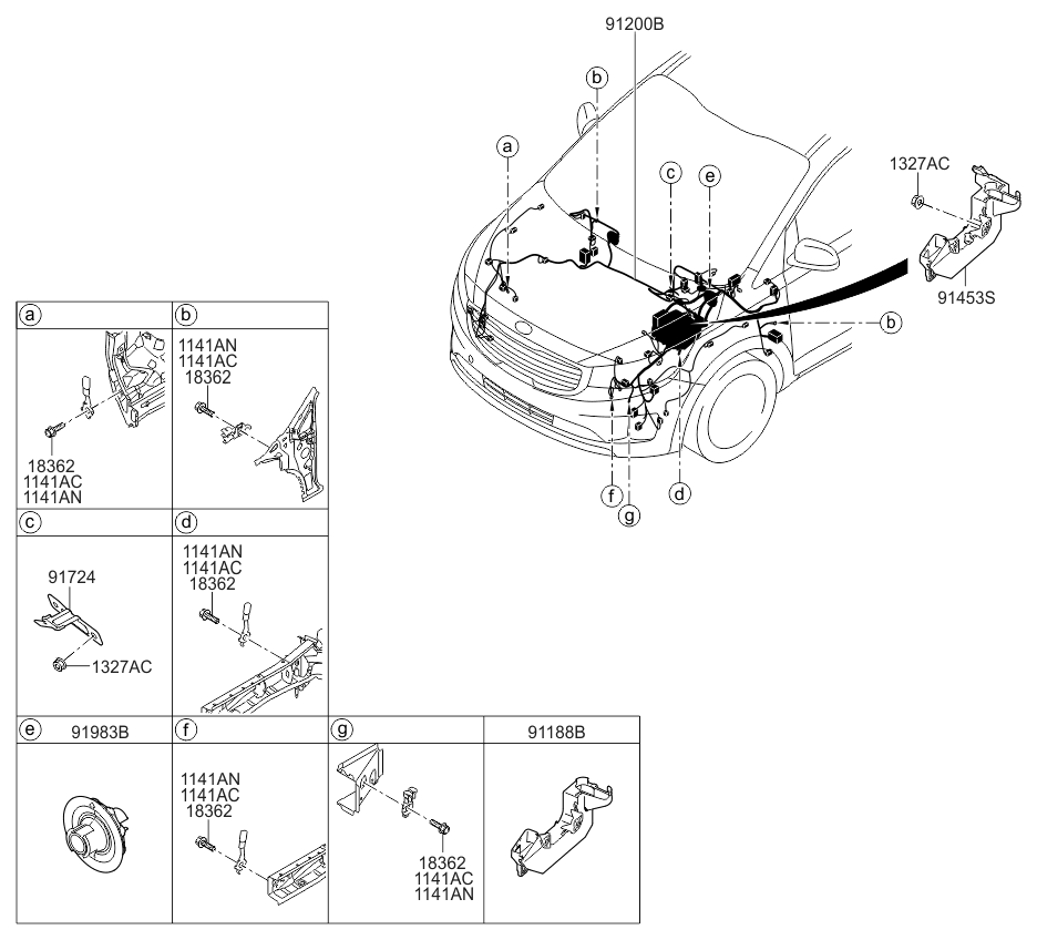 91223a9210 genuine kia wiring assembly front. Black Bedroom Furniture Sets. Home Design Ideas