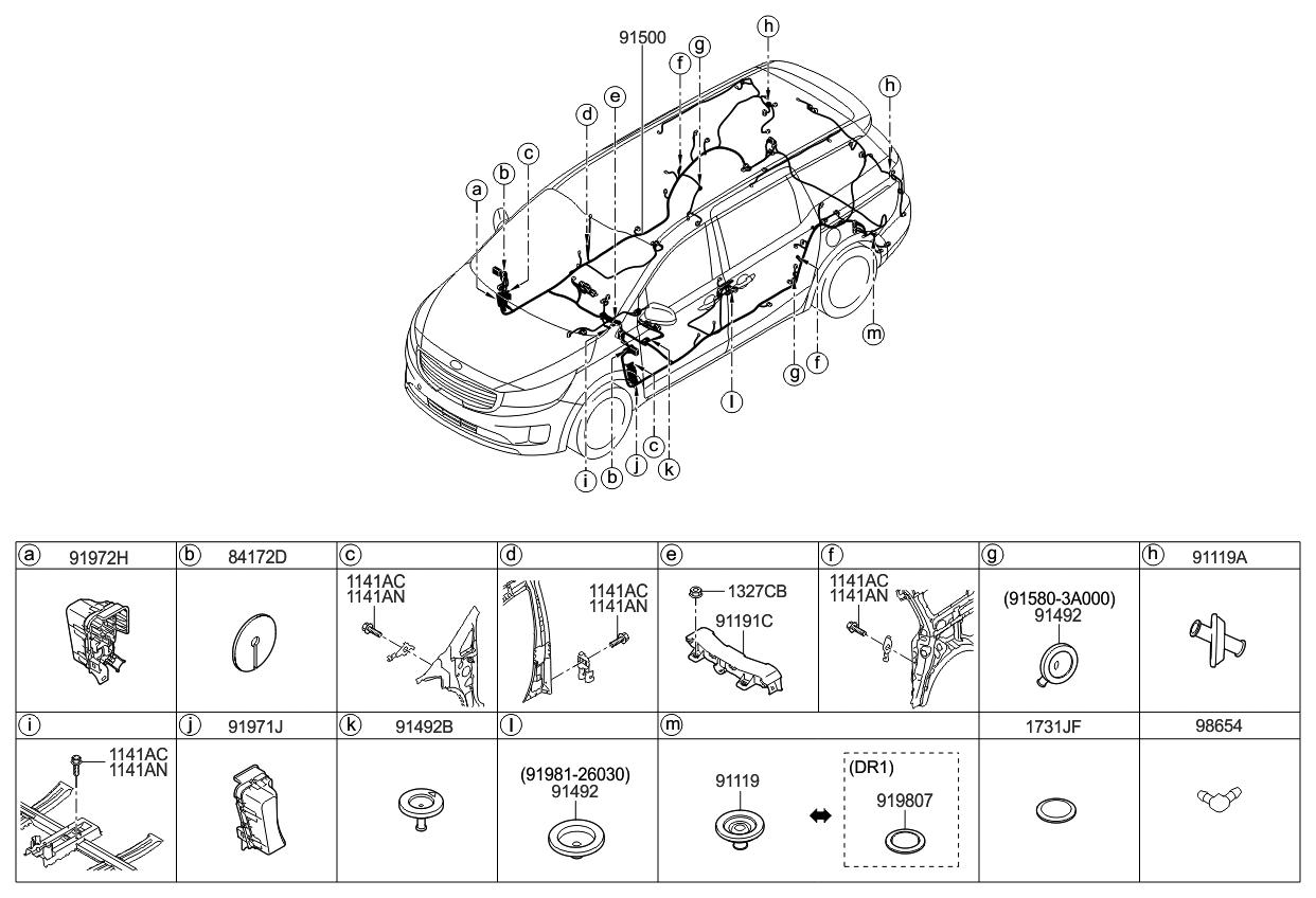 2016 Kia Sedona Wiring Harness-Floor - Kia Parts Now  Sedona Door Wiring Harness on