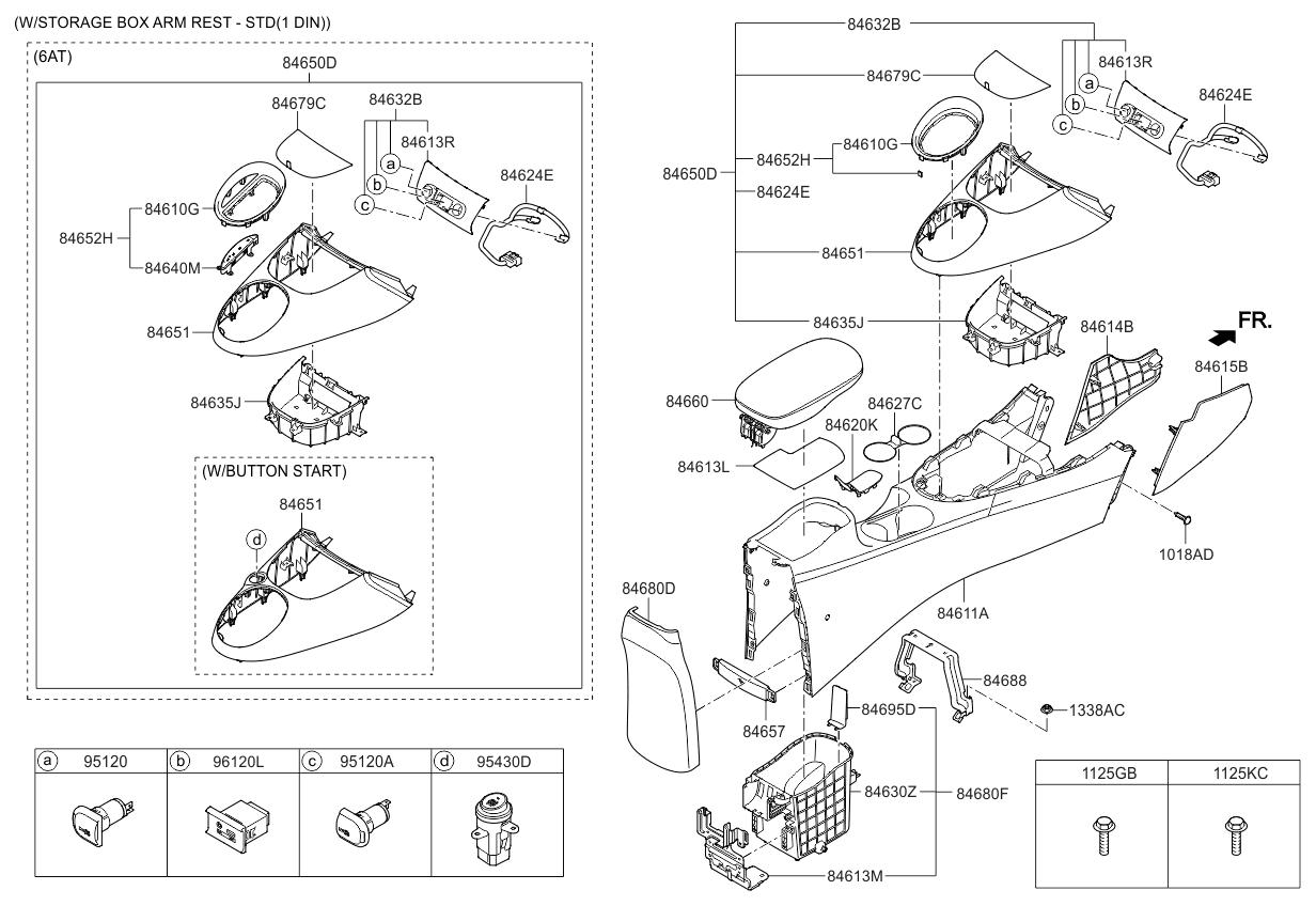 84634b2000egy genuine kia tray storage box. Black Bedroom Furniture Sets. Home Design Ideas
