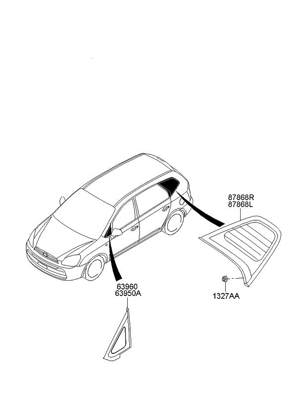 2009 Kia Rondo Quarter Fixed Glass & Moulding - Kia Parts Now