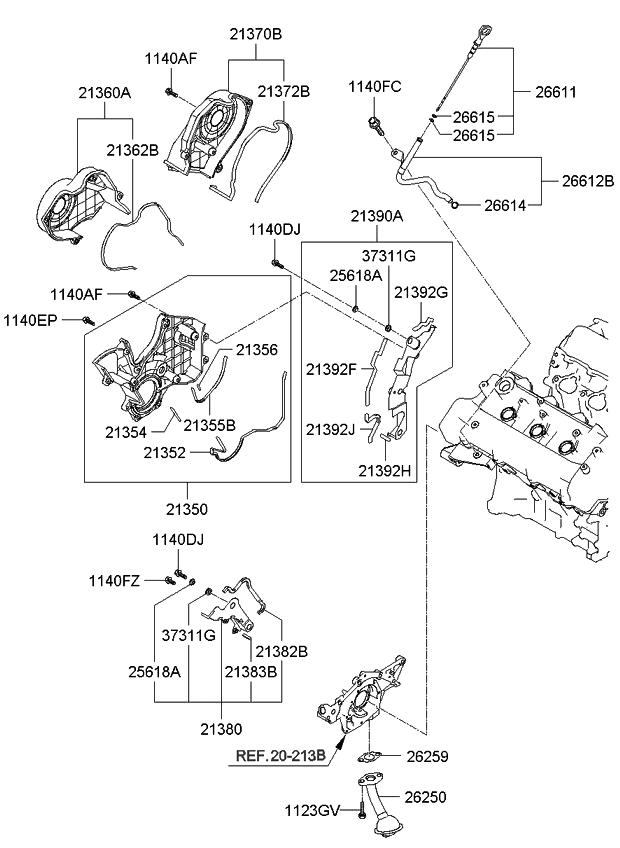 2007 kia rondo belt cover oil pan kia parts now rh kiapartsnow com 2003 Kia Rio Engine Diagram 2007 Kia Rondo Parts