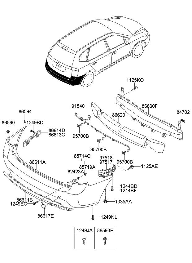 2008 kia rondo bumper-rear