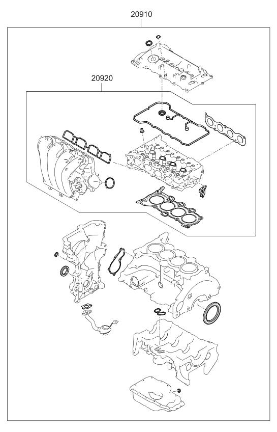 209102ea01 genuine kia gasket kit engine oveaul. Black Bedroom Furniture Sets. Home Design Ideas