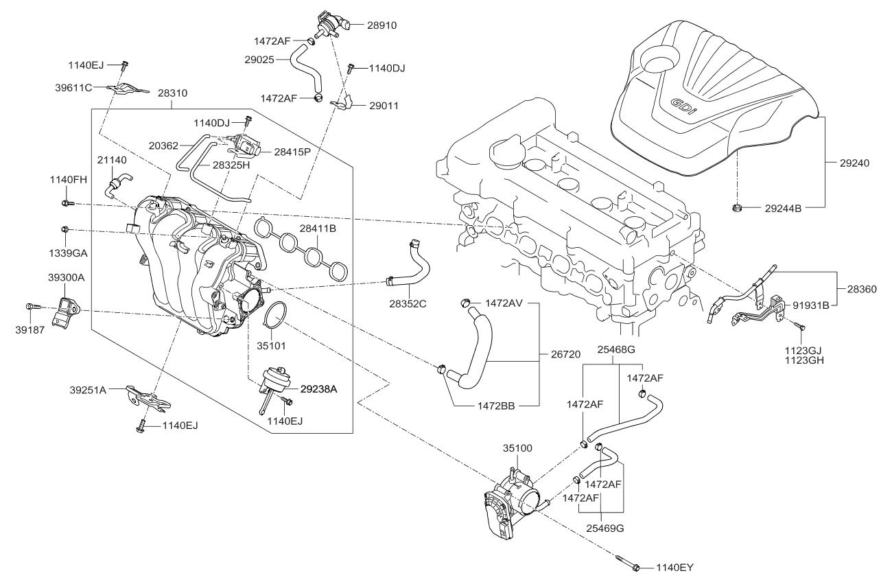 2012 kia soul intake manifold kia parts now rh kiapartsnow com 2010 kia soul engine diagram 2012 kia forte engine diagram