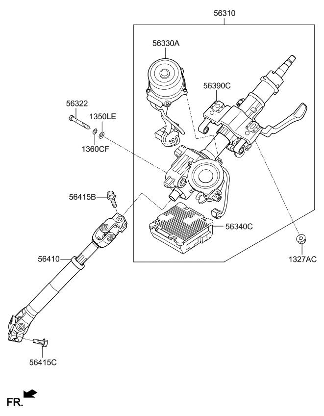 2013 Kia Soul Steering Column  U0026 Shaft