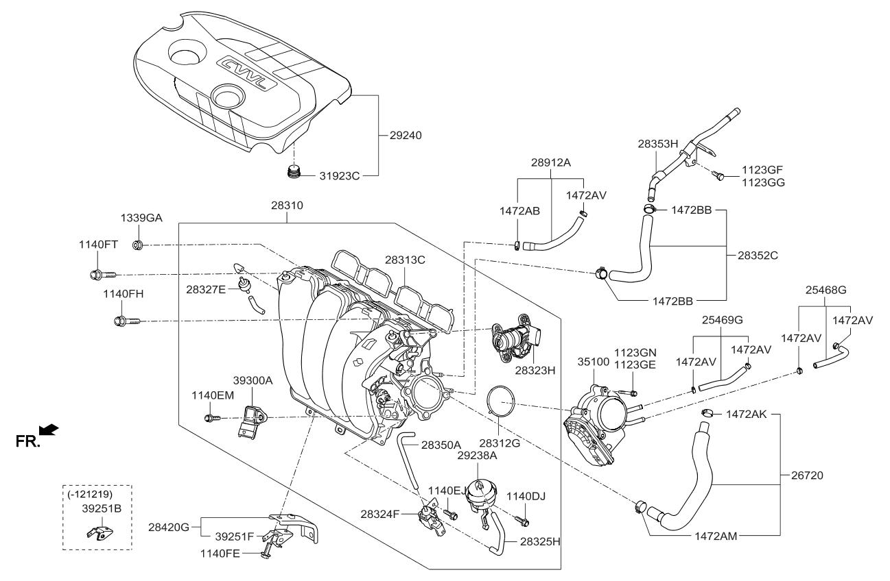 283232e000 genuine kia motor assembly vcm rh kiapartsnow com kia rio 2006 engine diagram kia picanto engine diagram