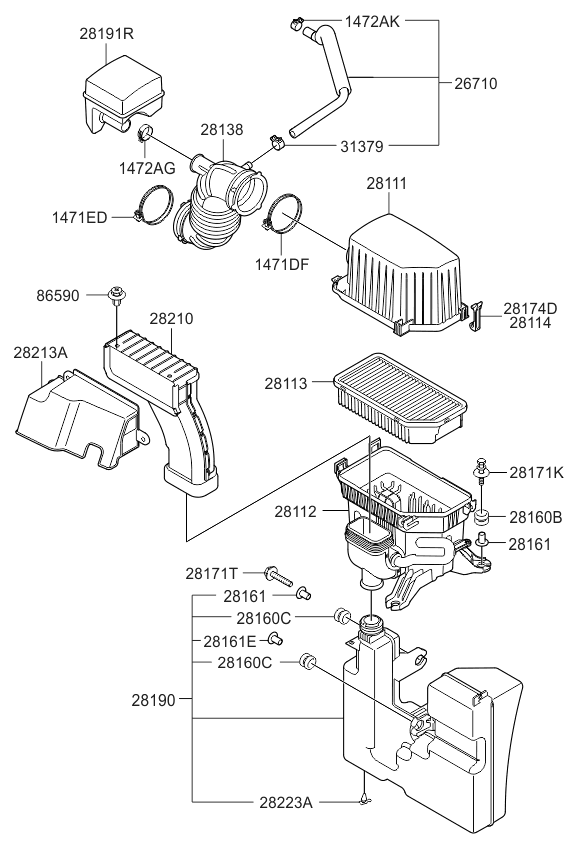 281122k600 genuine kia body air cleaner. Black Bedroom Furniture Sets. Home Design Ideas