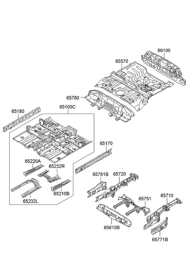 655102k350 genuine kia panel assembly rear floor. Black Bedroom Furniture Sets. Home Design Ideas