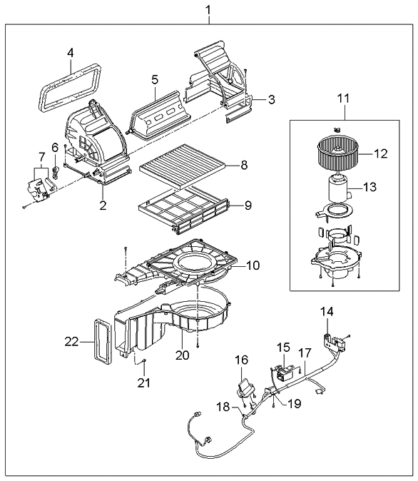 2005 Kia Spectra Sedan Heater System-blower Unit