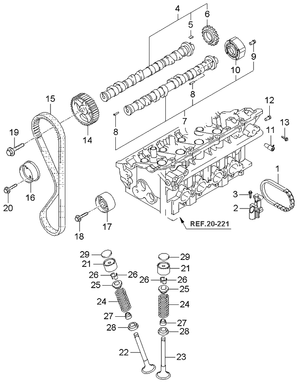 2006 kia spectra sedan camshaft-valve