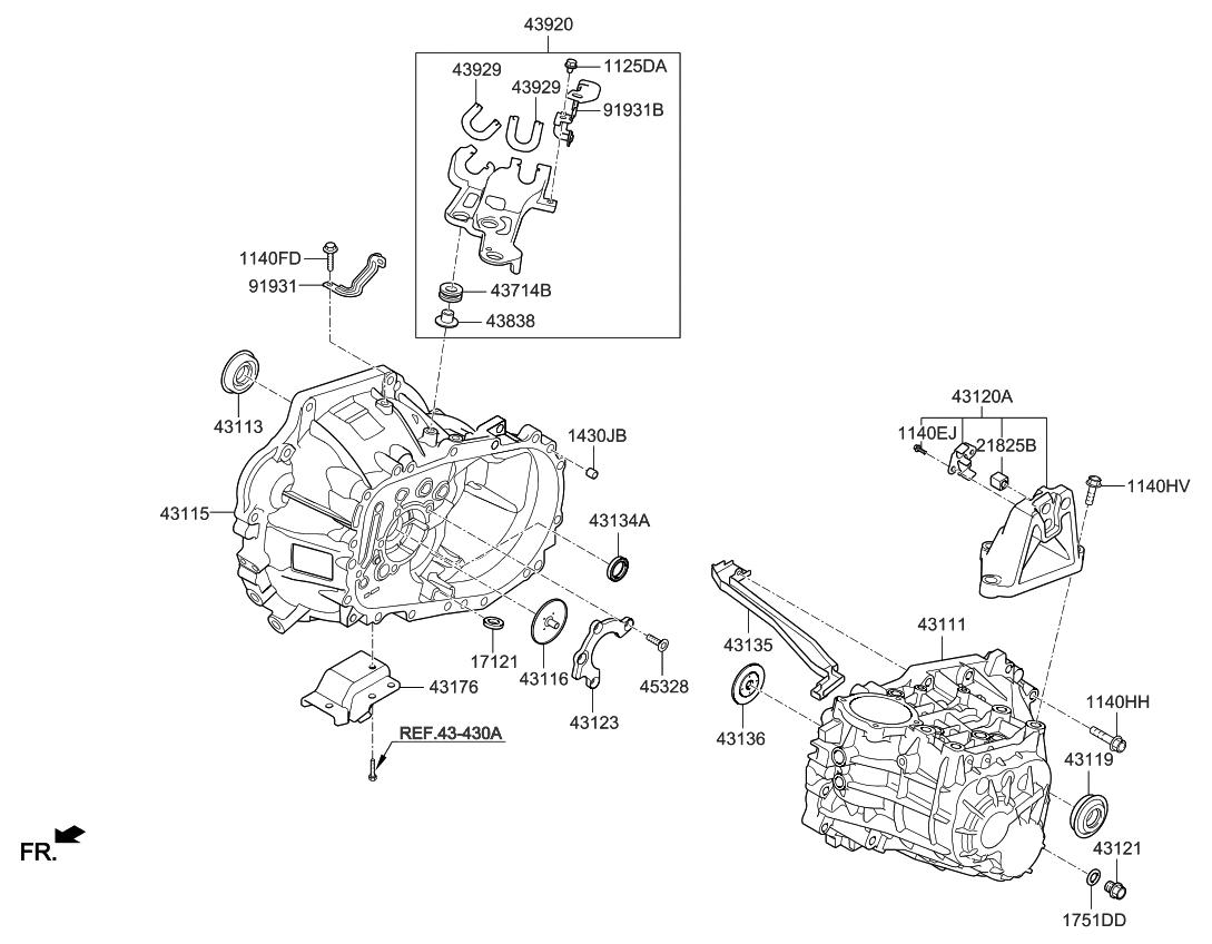 2018 Kia Forte Transaxle Case Manual Parts Now Diagram Thumbnail 1