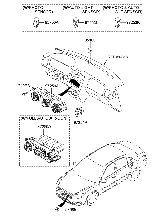 2008 Kia Optima New Body Style Heater System-Heater Control