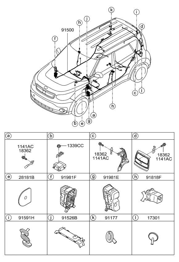 91501e4032 genuine kia wiring assembly floor rh kiapartsnow com 2010 kia soul wiring diagram 2012 kia soul wiring diagram