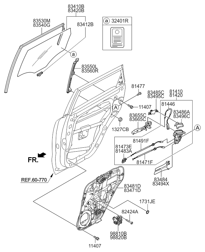 2016 Kia Soul EV Rear Door Window Regulator & Glass