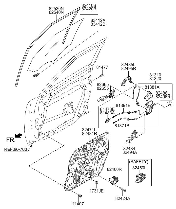 2016 Kia Soul EV Front Door Window Regulator & Glass