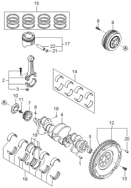 1999 kia sportage piston  crankshaft  u0026 flywheel