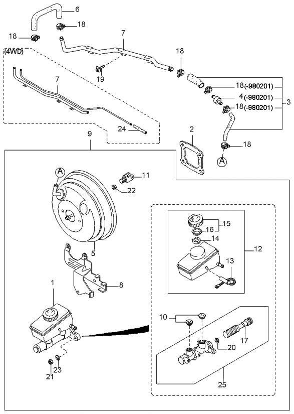 1997 Kia Sportage Brake Master Cylinder & Power Brake