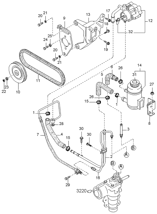0k02232680b genuine kia pump power steering 2000 Ford F350 Steering Diagram 2000 kia sportage old body style power steering system