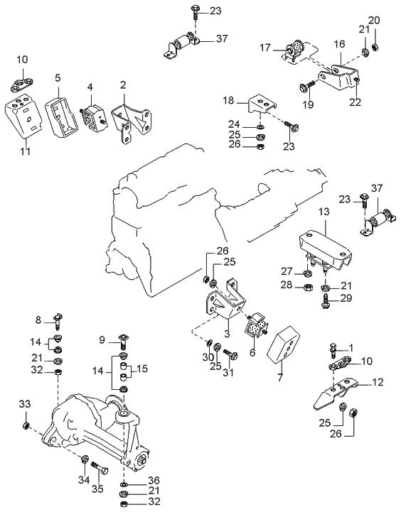1999 Kia Sportage Engine & Transmission Mounting - Kia ...