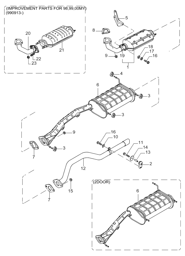 1999 Kia Sportage Muffler & Exhaust Pipe - Kia Parts Now