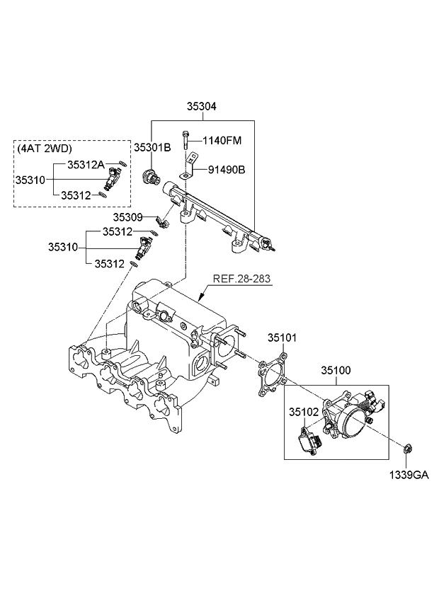 2008 Kia Spectra5 SX Throttle Body & Injector - Kia Parts Now