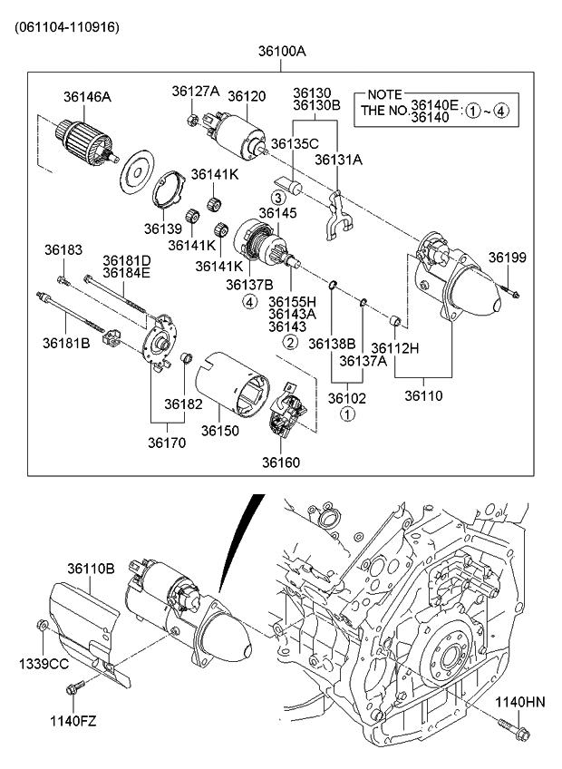 361403c100 genuine kia clutch set 2008 Mitsubishi Lancer Engine Diagram 2006 kia sedona produced after nov 2006 starter